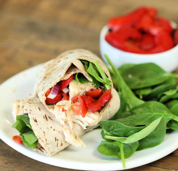 Instant Pot Roasted Red Pepper Chicken Wraps