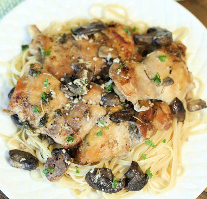 Crock pot Garlic Mushroom Chicken Thighs