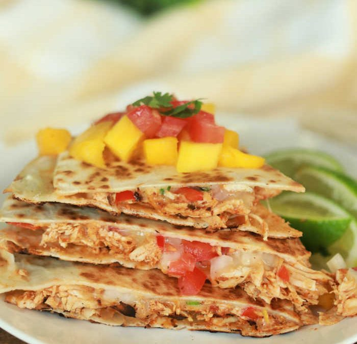 Mango Salsa Chicken Quesadillas