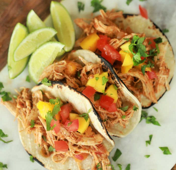 Instant Pot Mango Salsa Chicken Tacos