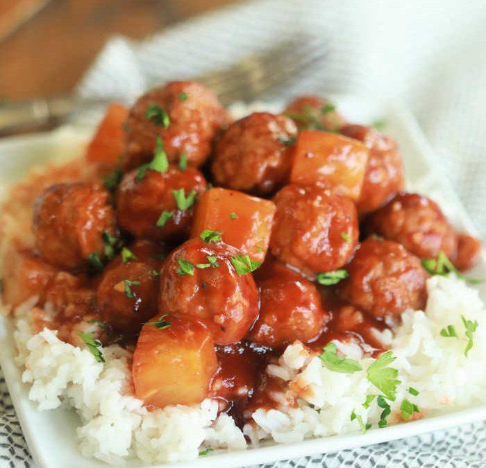Instant Pot Hawaiian BBQ meatballs