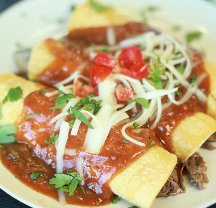 Crock Pot Shredded Beef Enchiladas