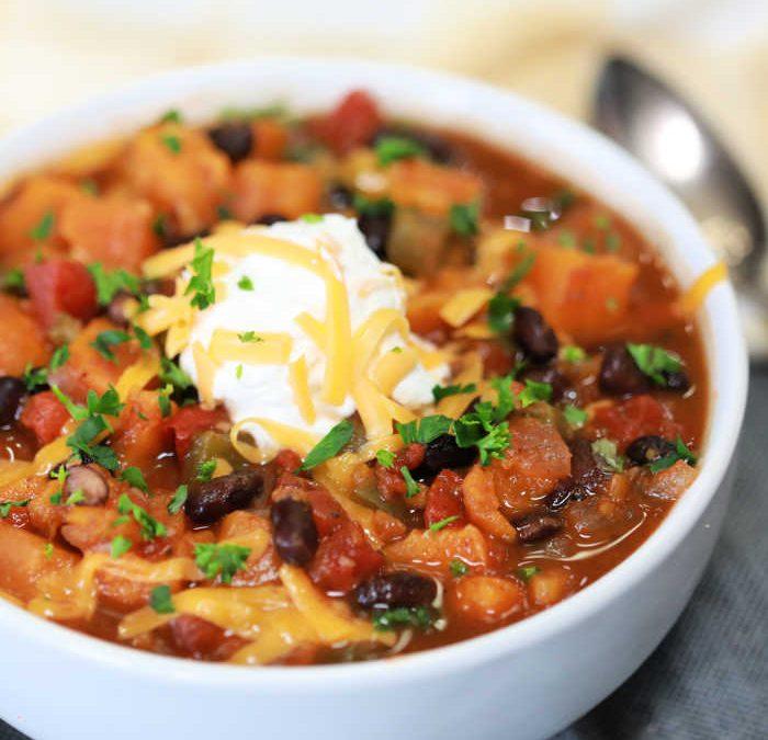Instant Pot Sweet Potato and Black Bean Chili