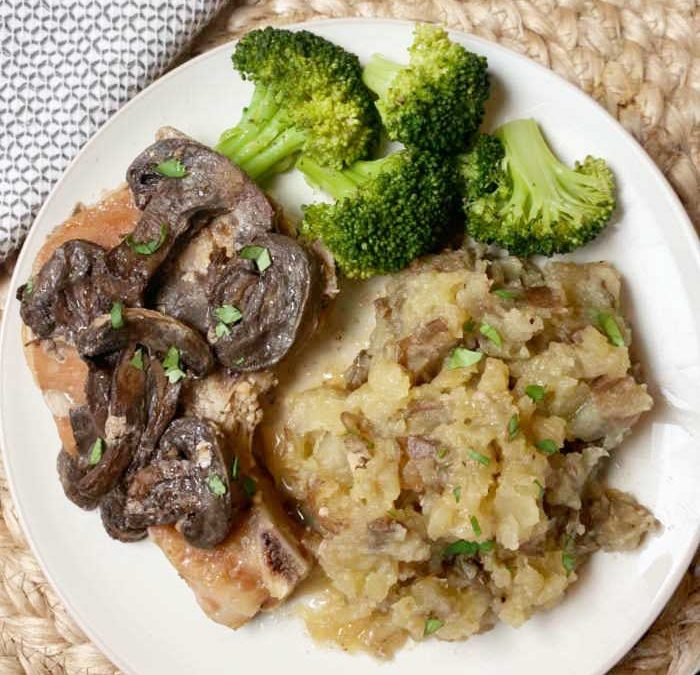 Instant Pot Garlic Butter Pork Chops with Mushrooms