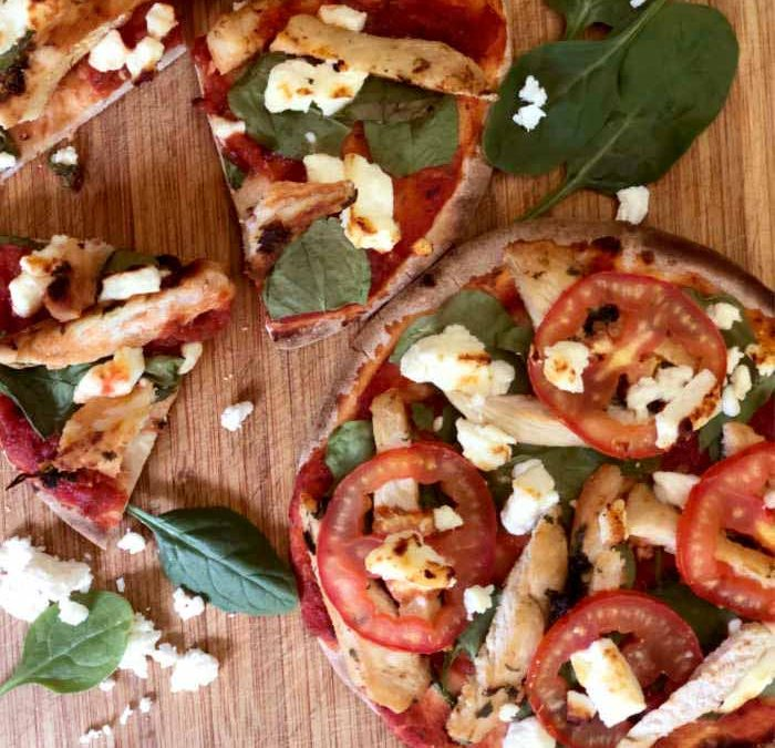 Instant Pot Chicken and Spinach Pita Pizza
