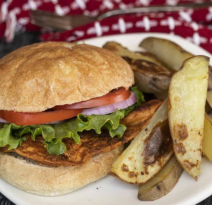Instant Pot Spicy Chicken Sandwiches with Potato Wedges