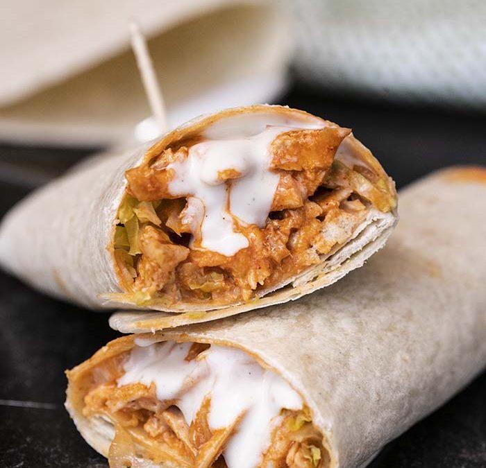 Instant Pot Buffalo Ranch Chicken Wraps