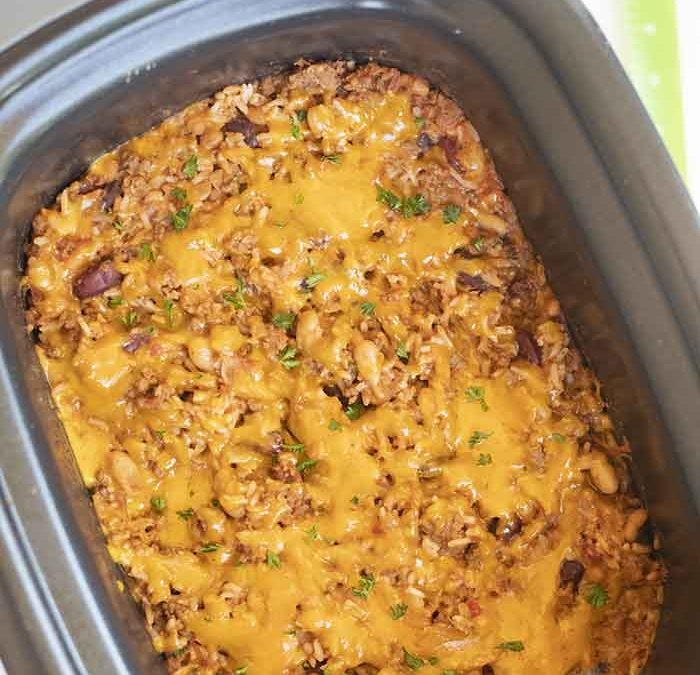 Instant Pot Cheesy Beef, Bean and Rice Casserole