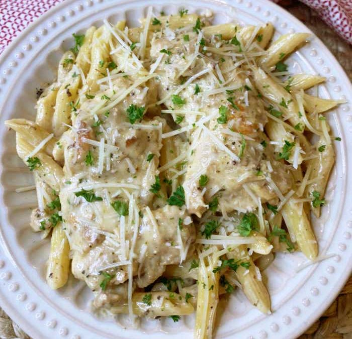 Instant Pot Creamy Garlic Chicken Thighs with Penne