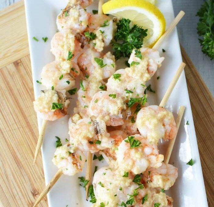 Garlic Parmesan Grilled Shrimp Skewers