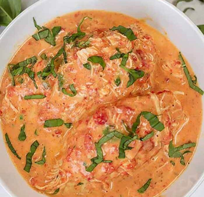 Crock Pot Creamy Tomato Basil Chicken