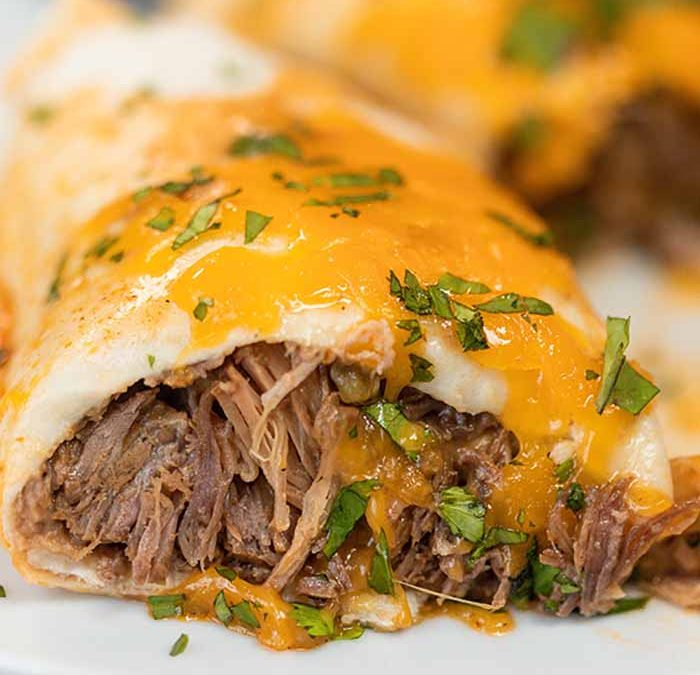 Instant Pot Smothered Beef Burritos