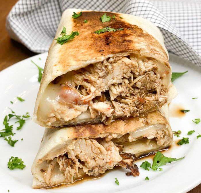 Crock pot Balsamic Chicken Burritos