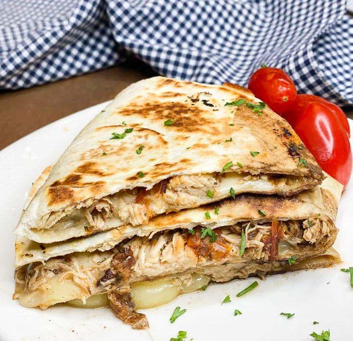 Crock Pot Balsamic Chicken Quesadillas