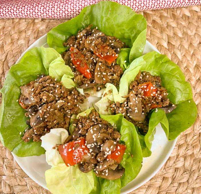Crock pot Moo Shu Beef Lettuce Wraps