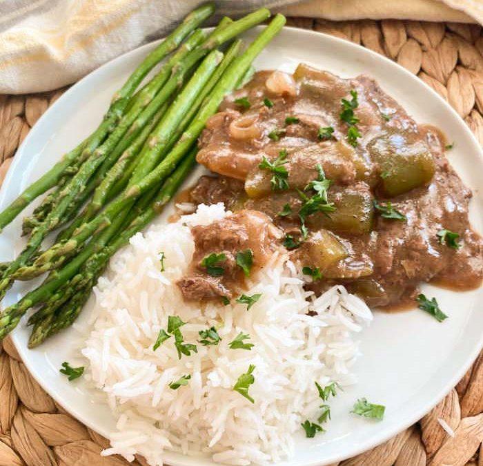 Crock Pot Pepper and Onion Steak