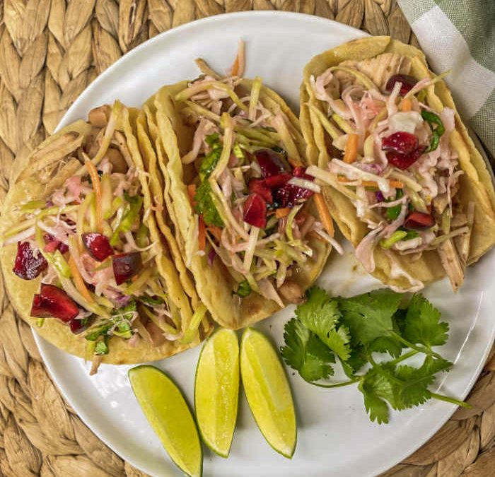 Instant Pot Pork and Pinto Bean Tacos with Slaw