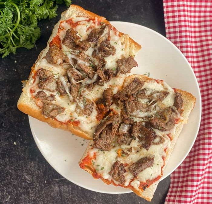 Instant Pot Creamy Italian Steak French Bread Pizza